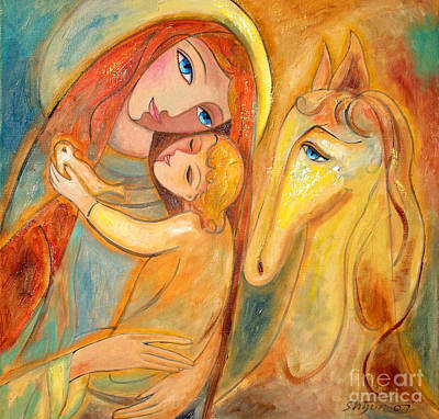 Religious Art Painting - Mother And Child On Horse by Shijun Munns
