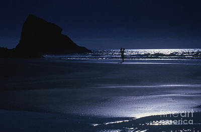 Photograph - Mother And Child On Neskowin Beach By Moonlight by Rick Bures