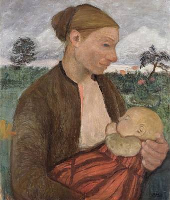 Suckling Painting - Mother And Child by Paula Modersohn Becker