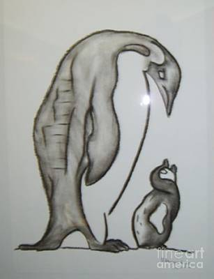 Mixed Media - Mother And Child Penguins by Isaac Khonjelwayo