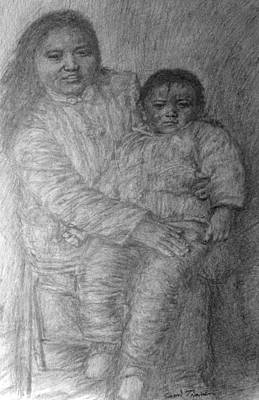 Drawing - Mother And Child by Sami Tiainen