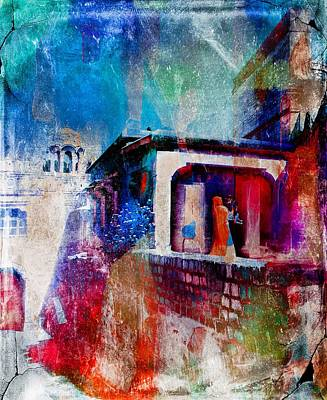 Photograph - Mother And Child Travel Exotic Blue City Fort Watercolor India Rajasthan 1b by Sue Jacobi