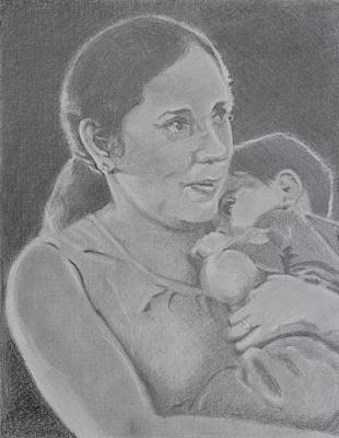 Drawing - Mother And Child by Vera Smith