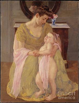 Child Painting - Mother And Child With A Rose Scarf by Celestial Images