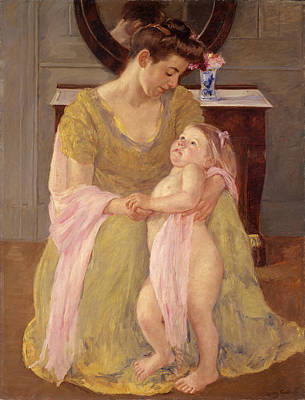 Painting - Mother And Child With A Rose Scarf by Mary Stevenson Cassatt