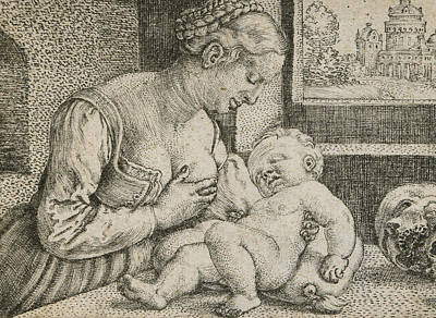 Interior Scene Drawing - Mother And Child With Skull And Hourglass by Barthel Beham