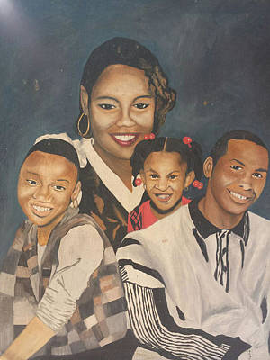 Painting - Mother And Children by Angelo Thomas