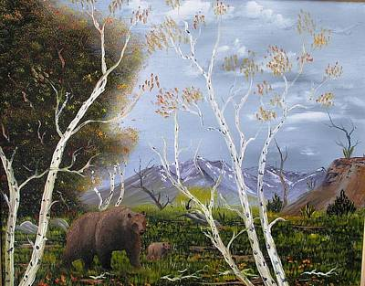 Painting - Mother And Cub Bear by Al  Johannessen