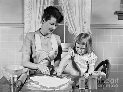 Mother And Daughter Baking Cookies Art Print