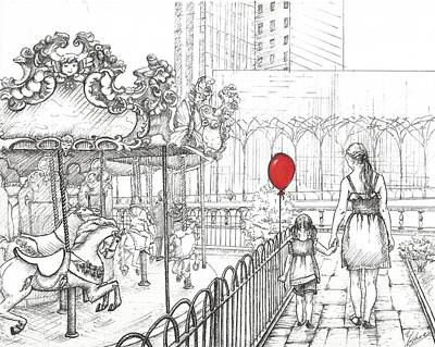 Bryant Drawing - Carousel, New York. Mother And Daughter.  by Anna Giller
