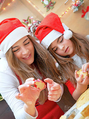 Photograph - Mother And Daughter Doing Christmas Sweets by Anna Om
