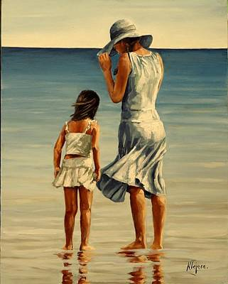 Painting - Mother And Daughter  IIi by Natalia Tejera