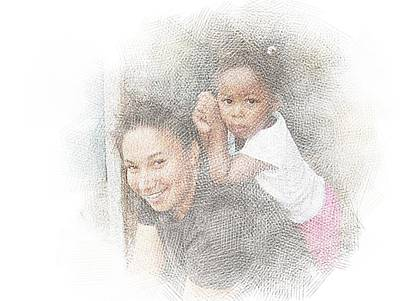 Digital Art - Mother And Daughter by Jan Hattingh