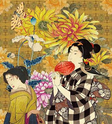 Japanese Digital Art - Mother And Daughter by Laura Botsford