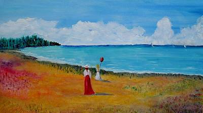 Cloudy Day Painting - Mother And Daughter by Marilyn  McNish
