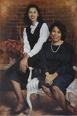 Painting - Mother And Daughter Portrait by Harvie Brown
