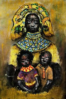 Tempera Mixed Media - Mother And Her Children  by Adedeji Olufemi