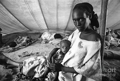 Photograph - Mother And Her Starving Child In A Tuberculosis Tent, African Di by Wernher Krutein