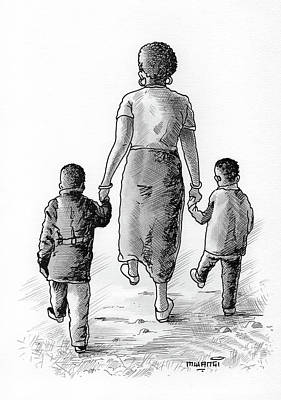Watercolor Mixed Media - Mother And Kids by Anthony Mwangi