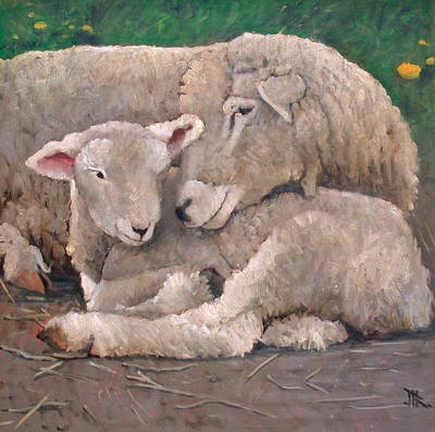 Mother And Lamb Art Print by John Reynolds