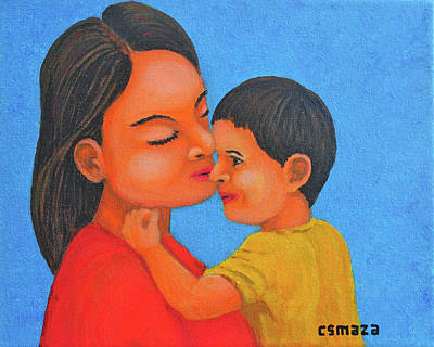 Mother And Son Art Print by Cyril Maza