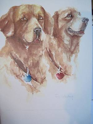 Mother And Son Golden Retrievers Art Print by Peg Whiting