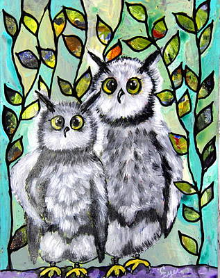 Wall Art - Painting - Mother And Son Owls by Carol Iyer