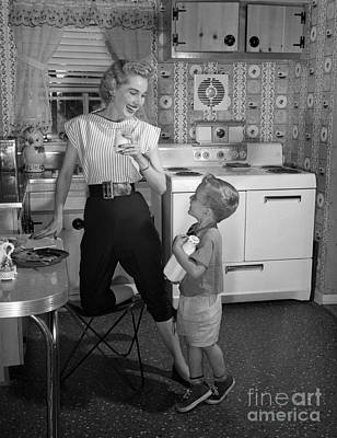Mother And Son With Milk, C.1950s Art Print