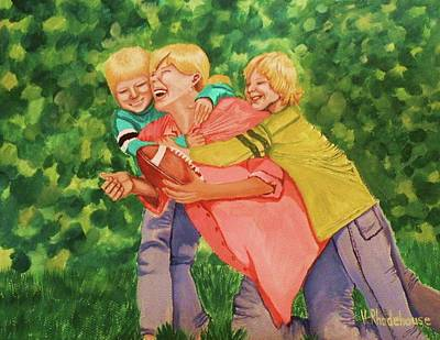 Mother And Sons Print by Victoria Rhodehouse