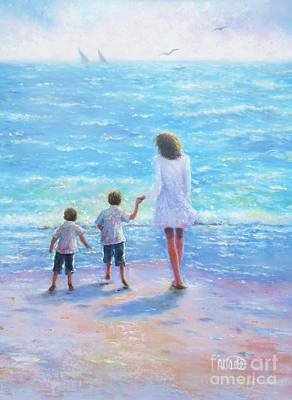 Two Little Boys Painting - Mother And Two Little Beach Boys by Vickie Wade