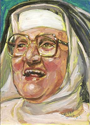 Painting - Mother Angelica Laughs by Bryan Bustard