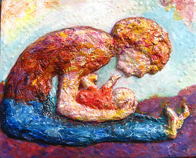 Bonding Mixed Media - Mother Bonding II by Naomi Gerrard