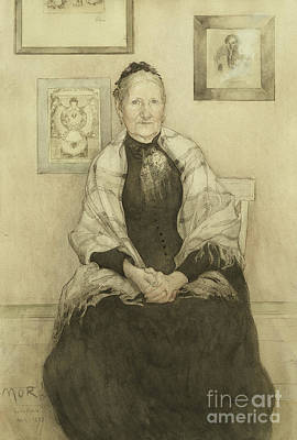 Shawl Painting - Mother by Carl Larsson