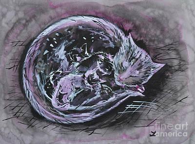 Mother Cat With Kittens Original by Zaira Dzhaubaeva
