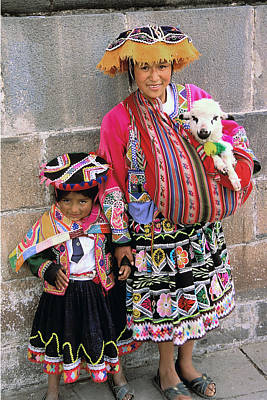 Photograph - Mother Child  And Lamb Cuzco by Alan Lenk