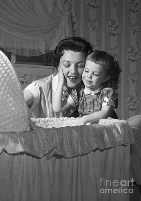 Bassinet Photograph - Mother, Daughter And Baby, 1950s by Debrocke/ClassicStock