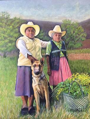 Mother, Daughter And Dog, Apoala, Oaxaca Art Print by Judith Zur