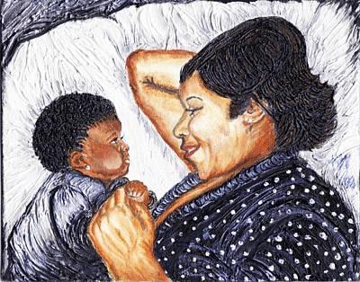 Keenya Woods Mixed Media - Mother  Daughter First Conversation by Keenya  Woods