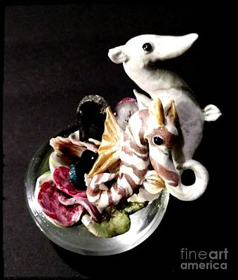 Seahorse Mixed Media - Mother Daughter Seahorse's by Kirk Wieland