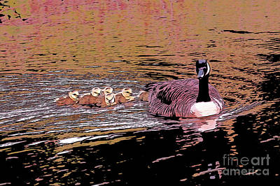 Mother Goose Baby Geese Art Print