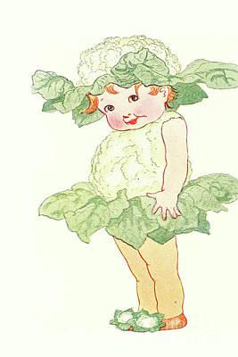 Nikki Vig Digital Art - Mother Earth Children Sweet Little Miss Cauliflower by Nikki Vig