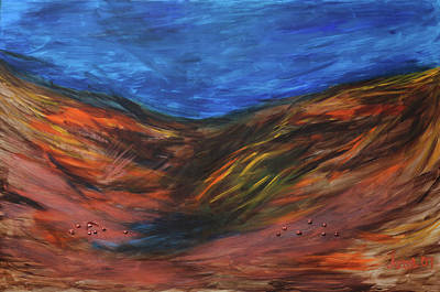 Painting - Mother Earth, father sky by Arna Vodenos