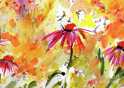 Painting - Mother Earth Wild Garden Floral Watercolor by Ginette Callaway