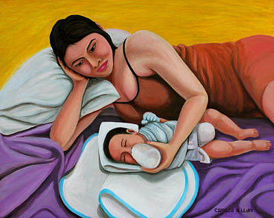 Painting - Mother Feeding Her Baby by Cyril Maza