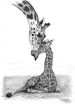 Mother Giraffe And The Baby Print by Eduardo Crowder