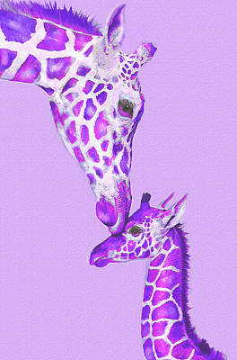 Digital Art - Mother Giraffe by Jane Schnetlage
