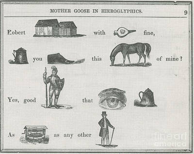 Mother Goose In Hieroglyphics, 1855 Art Print