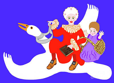 Painting - Mother Goose On Her Flying Goose by Marian Cates