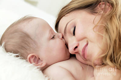 Hug Photograph - Mother Hugging Her Newborn Baby Daughter. Maternity Love, Happy Childhood. by Michal Bednarek