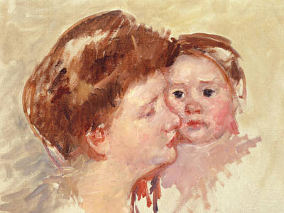 Caring Mother Painting - Mother In Profile With Baby Cheek To Cheek by Mary Stevenson Cassatt